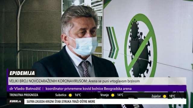 U ARENI OSTALO JOŠ SAMO ČETIRI KISEONIČKA MESTA! Dr Batnožić: Većina pacijenata ima obostranu upalu pluća (KURIR TELEVIZIJA)