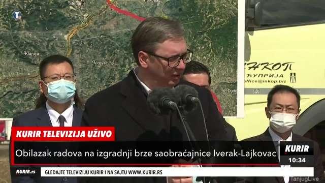 Vučić obilazi izgradnju brze saobraćajnice Iverak-Lajkovac