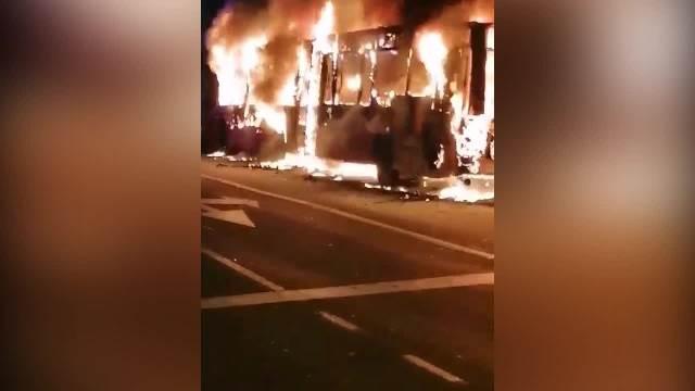 ZAPALIO SE AUTOBUS U ZEMUNU: Vozilo u potpunosti izgorelo, ostala samo školjka (VIDEO)