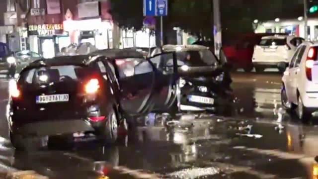 KARAMBOL NA BANOVOM BRDU: Tri automobila se slupala kod Gaspromove pumpe!