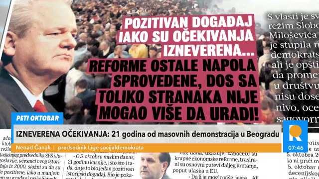 ČANAK O PETOM OKTOBRU: To je bio trenutak kada se Milošević morao SKLONITI, proizveo je nepojamna ZLA